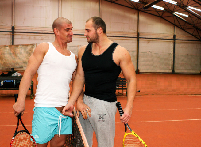 Out In Public Tomm and Max bareback sex uncut cocks Amateur Gay Porn 01 Amateur Muscle Jocks Barebacking In Public At An Indoor Tennis Court