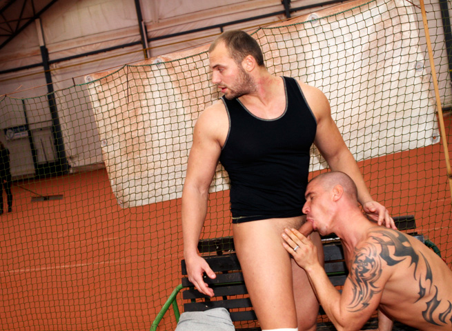 Out In Public Tomm and Max bareback sex uncut cocks Amateur Gay Porn 11 Amateur Muscle Jocks Barebacking In Public At An Indoor Tennis Court
