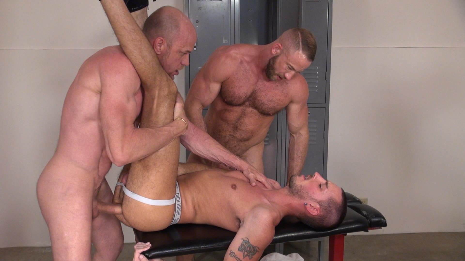 Raw and Rough Gio Ryder and Shay Michaels and Parker Jock Gets barebacked by two muscle daddy Amateur Gay Porn 06 Jock Sniffing Slut Gio Ryder Takes Bareback Cocks Up The Ass