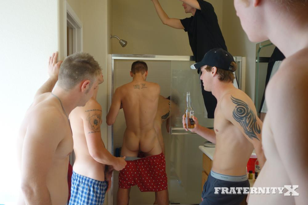 Fraternity X Frenchie Frat Guys Bareback Gang Bang In The Shower Amateur Gay Porn 01 Real Fraternity Boys Barebacking In The Frat Shower