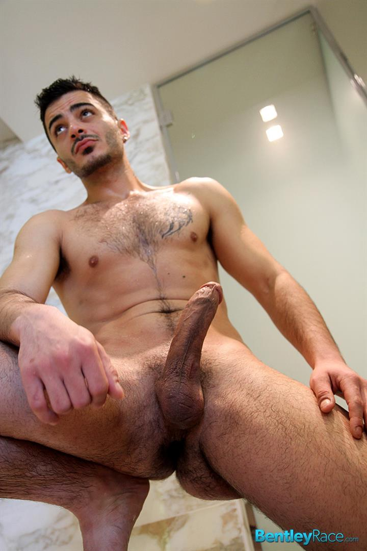 Bentley Race Aro Damacino Big Arab Cock Masturbation Bareback Sex Party Amateur Gay Porn 14 Muscular Middle Eastern Hunk Strokes His Big Arab Cock